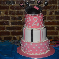 Minnie Mouse Cake My daughter's 2nd Birthday cake....with a Minnie Mouse themeThis is my first fondant cake with no classes taken!!!