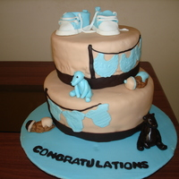 1St Baby Shower Cake the babies were made out of fondant from the tutorial I found here on cc...