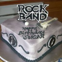 "Rock Band They wanted the ""Rock Band"" video game theme. Buttercream frosting. Rock Band logo out of fondant. Along with the logos on the..."