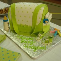 Diaper Bag Baby Shower Cake The cake is covered in fondant, and the rest of the details are gum paste. Thanks for looking!! :)