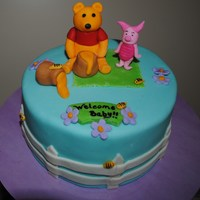 "Pooh Baby Shower Cake I made this 6"" Pooh cake for a mom to be. 48 cupcakes went with it for the guests."