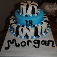 Blue With Zebra Print made for a girls 13th bday. covered in mmf.