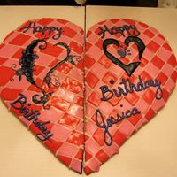 Cookie Cake This was a cookie cake I made for my niece for her 14th birthday. She is our Valentine's baby so it had to be something with a...