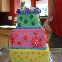 Friend's Bday Cake   3 tier spring themed cake!