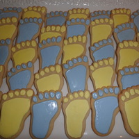 Baby Feet Sugar cookies decorated with royal icing.