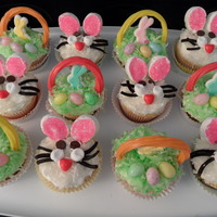 Easter Cupcakes First attempt at Bunnies and Easter Baskets.