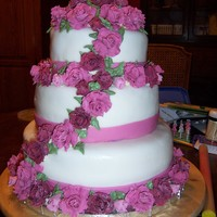 Burgundy Rose Wedding Cake