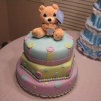 Bear Baby Shower Cake  This was my very first Fondant Cake! I made this for my daughter and my first grandbaby. I did not like to bake cakes let alone decorating...