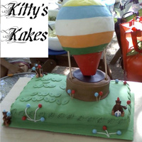 Hot Air Balloon  Joint bday cake for 1 yr old and 7 yr old brothers. The 1 yr old is nicknamed monkey and the 7 yr old loves hot air balloons and has been...