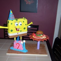 Spongebob And Gary   Spongebob and Gary celebrating Hayden's bday. There is a krabby patty and french fries on the table