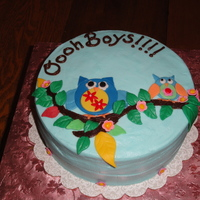 Owls this cake was for a babyshower for 4 moms, all of which were having boys. The owls were designed to match the invitations. The owls &...