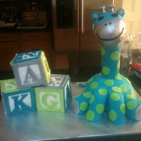 Blue & Green Giraffe And Baby Blocks Blocks and giraffe's body are cake. Giraffe's head, neck, and legs are RKT.