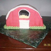 Barn Birthday Cake Fondant covered cake with royal icing accents.