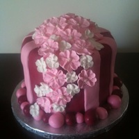 Pink Floral Cake Fondant covered cake with royal icing flowers.