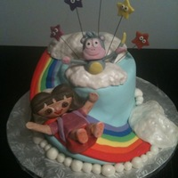 Dora & Boots Spiral Rainbow Cake   Fondant covered, spiral carved cake. Dora and Boots are gumpaste. Clouds are RKT.