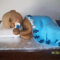 Sleeping Baby Cake Baby and pillow are shaped cake covered in fondant.