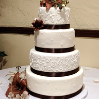 Fall Wedding Cake   Done in shades of brown.