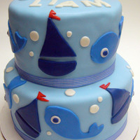 """welcome Baby"" Cake - Sailboat Theme  This was for a ""Welcome Baby"" party (there was never a baby shower...just this party instead!) They wanted something blue with..."