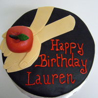 "Twilight Birthday Cake   A ""Twilight""-themed birthday cake. Chocolate fondant dyed black, with all fondant accents (including the apple!)"