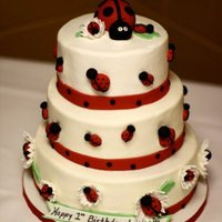 Ladybug Birthday Cake Made this cake for friend's daughter's first birthday party. I was sick that week and had to cover it in buttercream the day of...