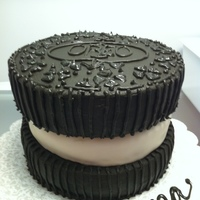 Oreo Cake   3 tiers chocolate w choc buttercream and middle layer cookies and cream cake w cookies and cream buttercream