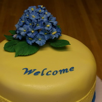 My First Hydrangea!  This was a cake I made for friends of ours that were coming to visit. I was quite nervous because he is Italian and works in a bakery - a...
