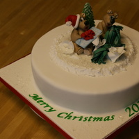 Teddy Bear's Christmas  My friend asked me to make this cake for an elderly couple who has just moved into an Assisted Living apartment. Because of the downsize,...