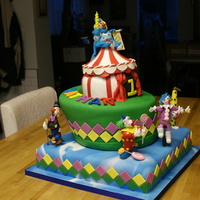 Circus, Clowns  This is my youngest grandson's first birthday cake. Was brain dead after Xmas, so many thanks to OlgaCake for the inspiration! Bottom...