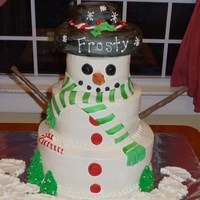 Frosty The Snowman This cake was made for a holiday celebration night at the elementary school that my kids attend. It was a lot of fun to make, and everyone...