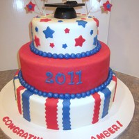 Red/white/blue Graduation Cake