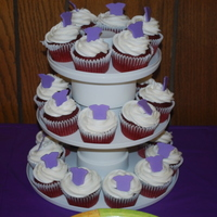 Baby Shower Cupcakes   Red Velvet with cream cheese icing and fondant onesies