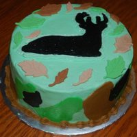 Deer Silhouette Camo Cake   Chocolate WASC cake. The deer is a FBCT and the leaves are made of fondant/gumpaste blend.