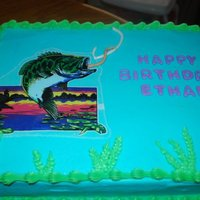 Chocolate Cake With Edible Fish Image This cake is chocolate version of WASC with vanilla buttercream. Bass is an edible image.