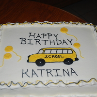 School Bus Birthday Cake   WASC with Vanilla Buttercream. Pin Prick school bus.