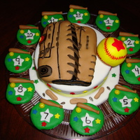 Softball Glove & Ball Cake This is a cake I made for a softball party... The ball and glove are both made from rice crispy treats covered in fondant.