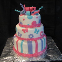 First Birthday  I made this cake for my daughters first birthday with the help of Holly12183. It's covered in marshmellow fondant and all of the...