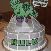 Incredible Hulk Cake Birthday boy wanted the Incredible Hulk. Tried about a million different ideas for the stand-up Hulk. Actually ended up using thick foam...