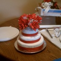 First Wedding Cake I made this cake for my nieces wedding. The bottom and top layers are double chocolate fudge cake and the middle is red velvet. Covered in...