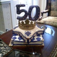 "50Th Birthday Cake 50th Birthday cake. Client wanted a really big ""50"" on top of a crown and that's exactly what I give him..lol. It was a very..."