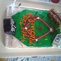 Baseball Cake This was my first time trying to use fondant on a cake by myself.. it was for a friends little boys 9th birthday.. hence the score board...