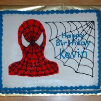 Spiderman 12x15 yellow cake with buttercream icing