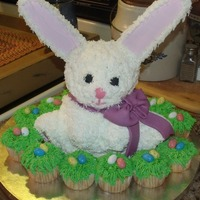 Easter Bunny Cake  made with the wilton bear cake pan . I had to remove the bear ears and make ears with cardboard then frost them and tip them to add the fur...