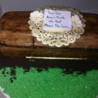 "Casket Cake   Cake I made for a friends 40th bday. Plaque reads "" Here Lies Amy's Youth, We Shall Mourn the Loss"""