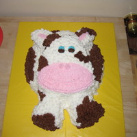 Birthday Cow Cake For my son's 1st Birthday party with a barnyard theme