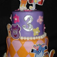 Dora Cake 6 and 8 inch round cakes covered in marshmallow fondant. The characters are stickers placed onto gumpaste. This worked out great and the...