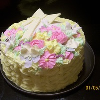 Basket Weave Cake Basket Weave Design with Hand Made Flowers