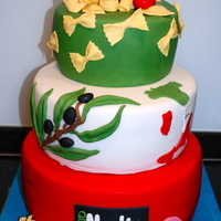 Italia Cake For an opening of a italian storeEverything is fondantcake ist Chocolate Mud Cake