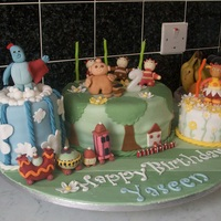 "In The Night Garden Gang The whole cast of In The Night Garden (British infant's TV show) feature in this cake for my son's 2nd birthday. Middle 8""..."