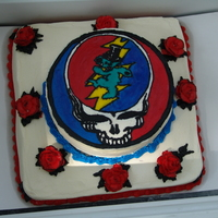 Grateful Dead Cake  A friend's birthday cake..all I know how to do at this point is bc transfers and am a little hesitant of fondant. The cake was also...