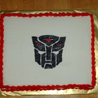 Transformers Logo   Logo is a frozen icing transfer on 12x15.